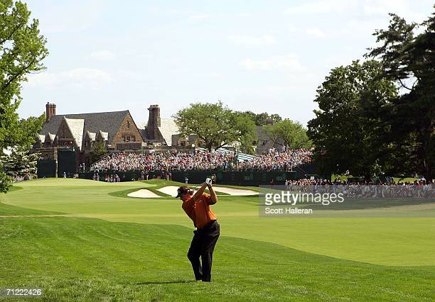 Phil Mickelson hits from the rough on the ninth hole during the second round of the 2006 US Open Championship at Winged Foot Golf Club on June 16,...