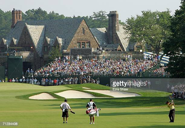Phil Mickelson hits his approach shot on the ninth hole during the final round of the 2006 US Open Championship at Winged Foot Golf Club on June 18,...
