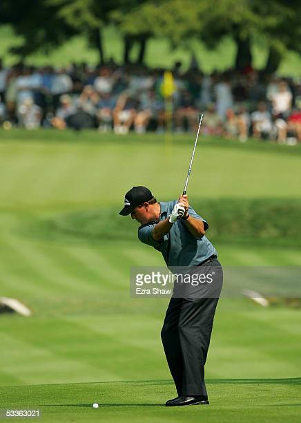 Phil Mickelson hits his approach shot on the third hole during the second round of the 2005 PGA Championship at Baltusrol Golf Club on August 12,...