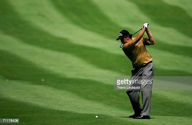 Phil Mickelson hits his fourth shot on the ninth hole during the final round of the Barclays Classic at the Westchester Country Club on June 11 2006...
