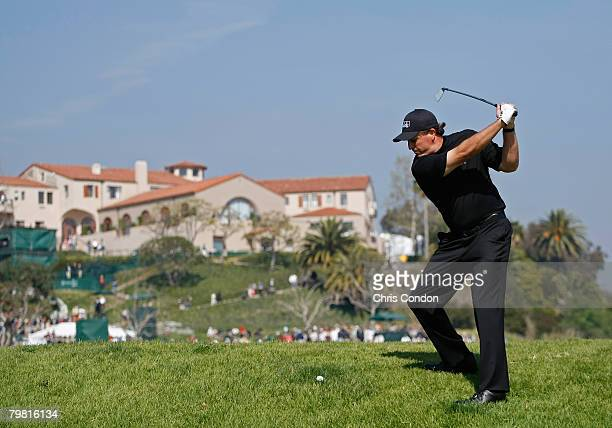 Phil Mickelson hits his second shot on during the final round of the Northern Trust Open held on February 17 2008 at Riviera Country Club in Pacific...