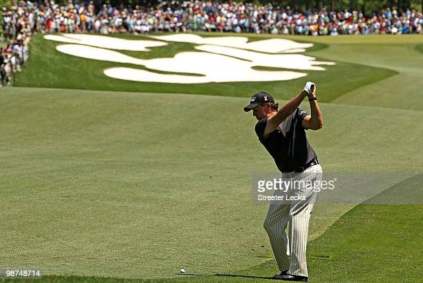 Phil Mickelson hits his second shot on the 5th hole during the first round of the Quail Hollow Championship at Quail Hollow Country Club on April 29...
