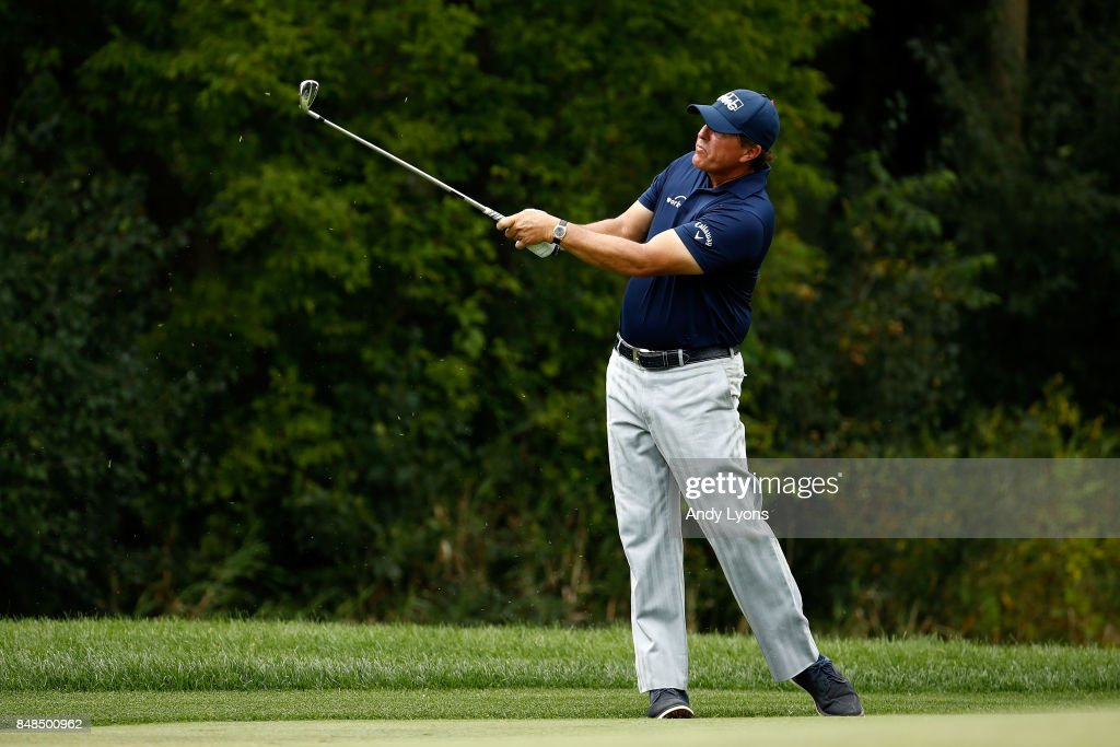 Phil Mickelson hits his second shot on the fifth hole during the final round of the BMW Championship at Conway Farms Golf Club on September 17, 2017 in Lake Forest, Illinois.