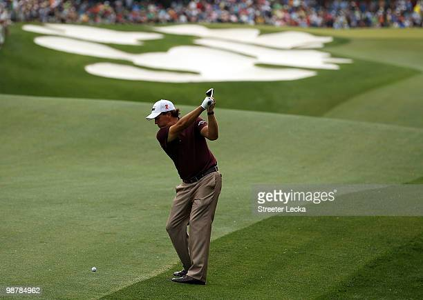 Phil Mickelson hits his shot on the 5th hole during the third round of the Quail Hollow Championship at Quail Hollow Country Club on May 1 2010 in...