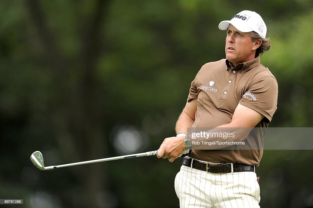 Phil Mickelson hits his tee shot on the 14th hole during the continuation of the final round of the 109th U.S. Open on the Black Course at Bethpage State Park on June 22, 2009 in Farmingdale, New York.