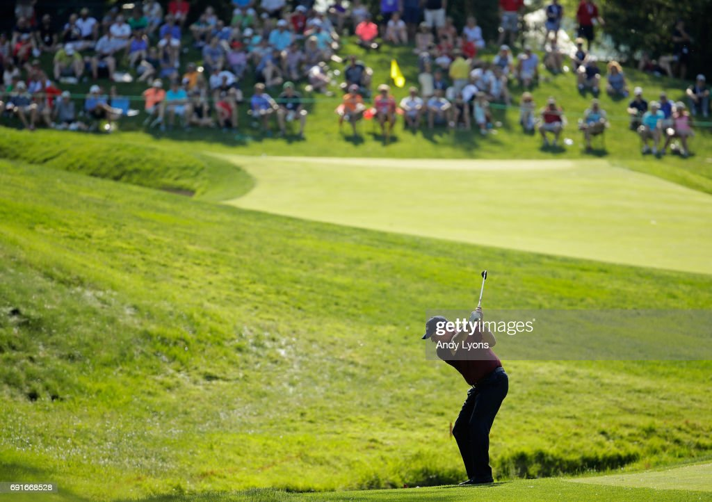 Phil Mickelson hits his tee shot on the 14th hole during the second round of the Memorial Tournament at Muirfield Village Golf Club on June 2, 2017 in Dublin, Ohio.