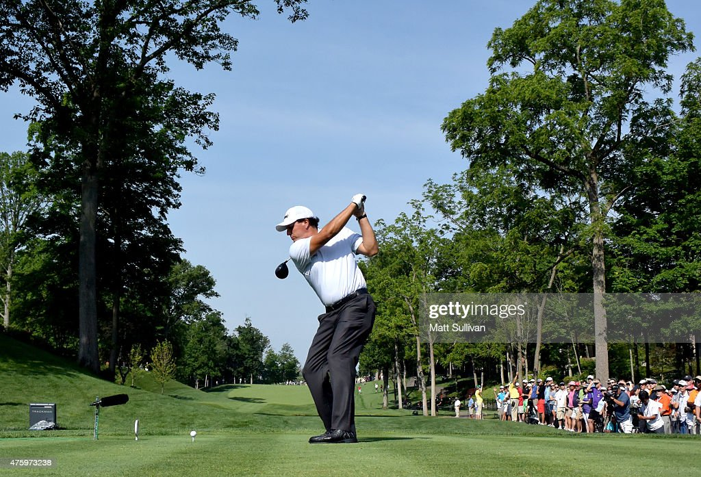 Phil Mickelson hits his tee shot on the 15th hole during the second round of The Memorial Tournament presented by Nationwide at Muirfield Village Golf Club on June 5, 2015 in Dublin, Ohio.