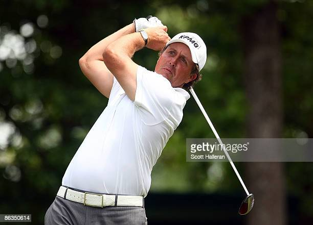 Phil Mickelson hits his tee shot on the fourth hole during the third round of the Quail Hollow Championship at the Quail Hollow Club on May 2, 2009...