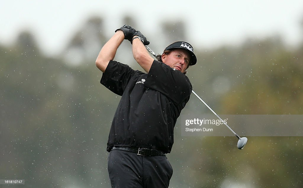 Phil Mickelson hits his tee shot on the second hole during the second round of the Farmers Insurance Open on the South Course at Torrey Pines Golf Course on January 25, 2013 in La Jolla, California.