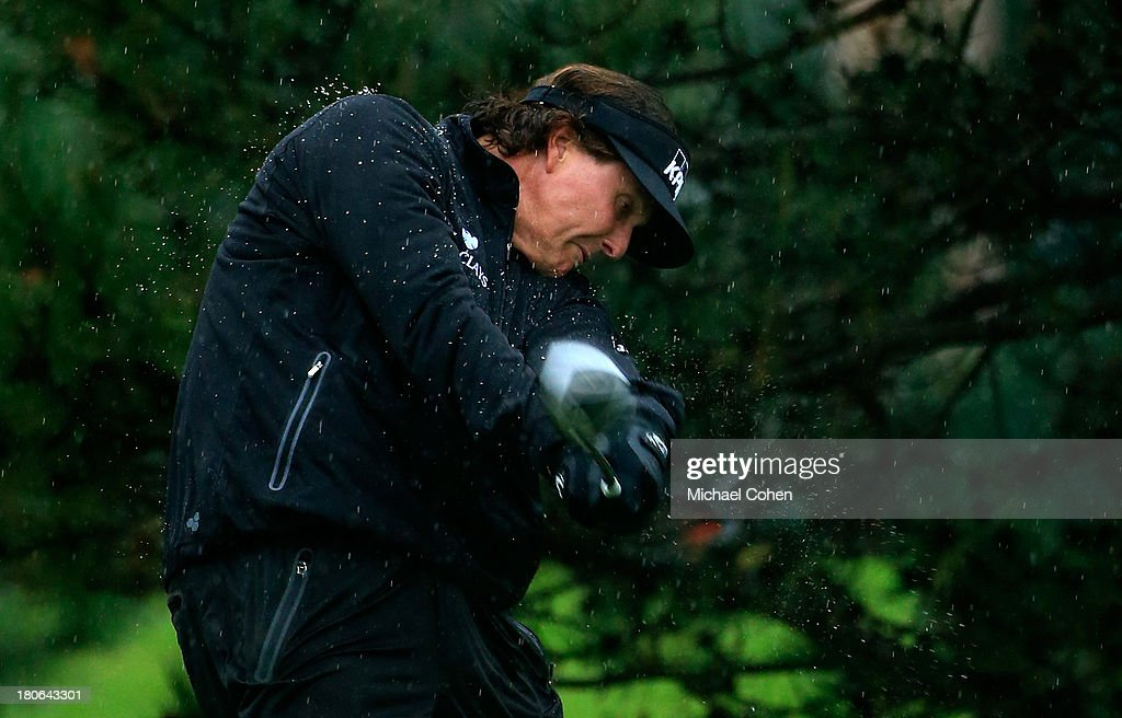 Phil Mickelson hits off the fourth tee during the Final Round of the BMW Championship at Conway Farms Golf Club on September 15, 2013 in Lake Forest, Illinois.