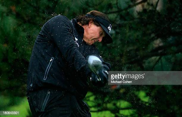 Phil Mickelson hits off the fourth tee during the Final Round of the BMW Championship at Conway Farms Golf Club on September 15, 2013 in Lake Forest,...
