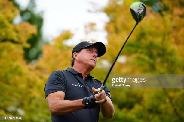 Phil Mickelson hits on the first hole during the second round of the Safeway Open at Silverado Resort on September 27, 2019 in Napa, California.