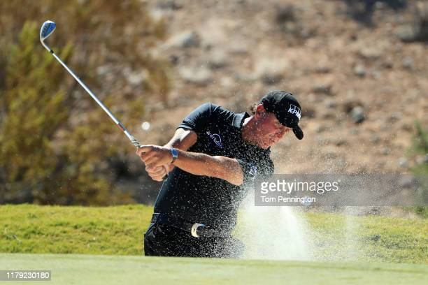 Phil Mickelson hits out of a bunker on the second hole during the third round of the Shriners Hospitals for Children Open at TPC Summerlin on October...