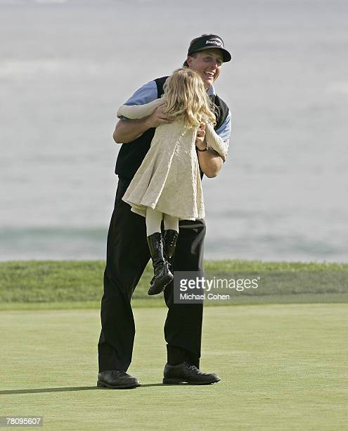 Phil Mickelson is greeted by his daughter Sophia after winning the 2007 AT&T Pebble Beach National Pro-Am on the Pebble Beach Golf Links in Pebble...