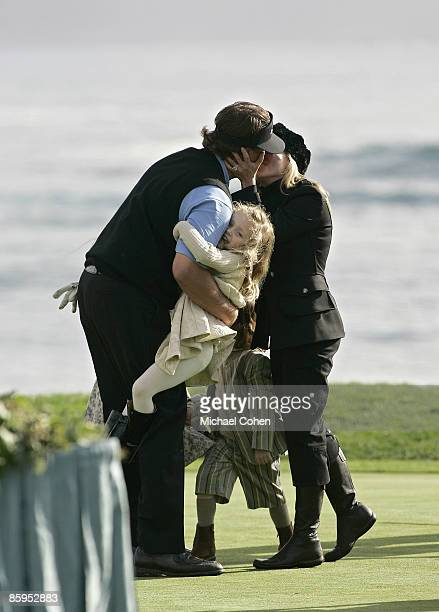 Phil Mickelson is greeted by his family after winning the 2007 ATT Pebble Beach National ProAm on the Pebble Beach Golf Links in Pebble Beach...