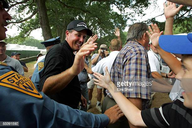 Phil Mickelson leaves the 18th green after winning the 2005 PGA Championship with a 4-under par 276 on August 15, 2005 in Springfield, New Jersey.