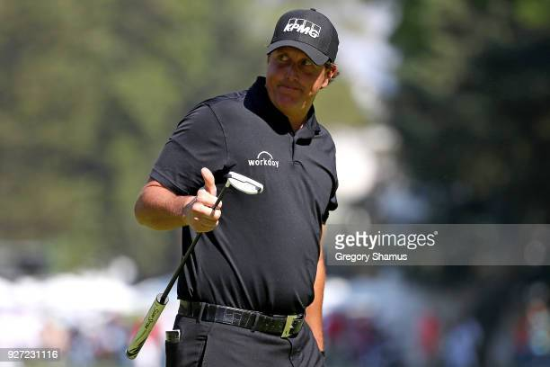 Phil Mickelson makes a par on the 9th green during the final round of World Golf ChampionshipsMexico Championship at Club De Golf Chapultepec on...