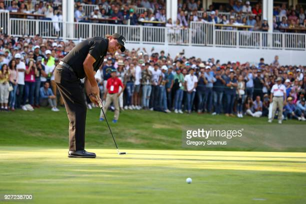 Phil Mickelson misses a putt on the 17th green during the final round of World Golf ChampionshipsMexico Championship at Club De Golf Chapultepec on...