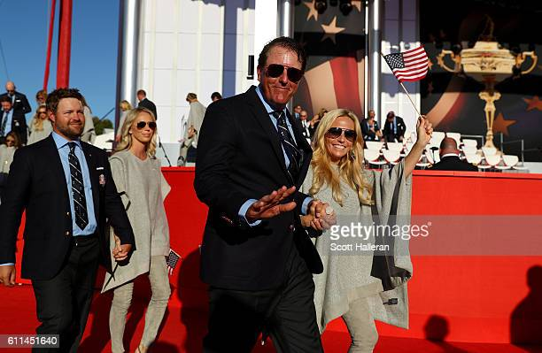 Phil Mickelson of the United States and Amy Mickelson attend the 2016 Ryder Cup Opening Ceremony at Hazeltine National Golf Club on September 29 2016...
