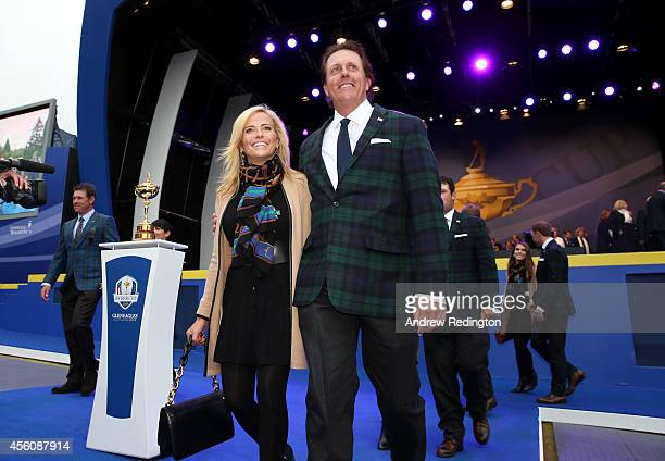Phil Mickelson of the United States and wife Amy Mickelson leave the arena after the Opening Ceremony ahead of the 40th Ryder Cup at Gleneagles on...