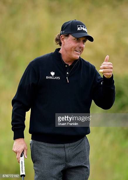 Phil Mickelson of the United States celebrates a birdie on the 10th hole during the final round on day four of the 145th Open Championship at Royal...