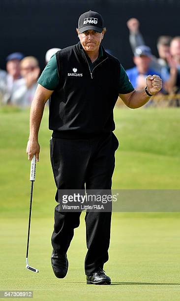 Phil Mickelson of the United States celebrates a birdie on the 14th green during the first round on day one of the 145th Open Championship at Royal...