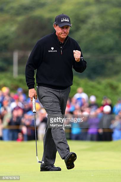 Phil Mickelson of the United States celebrates a putt on the 12th during the final round on day four of the 145th Open Championship at Royal Troon on...