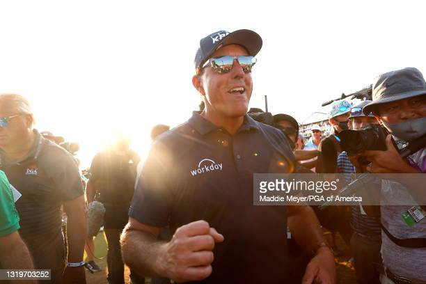 Phil Mickelson of the United States celebrates after winning during the final round of the 2021 PGA Championship held at the Ocean Course of Kiawah...