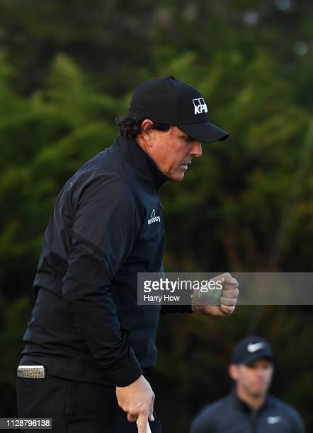 Phil Mickelson of the United States celebrates on the 13th green during the final round of the ATT Pebble Beach ProAm at Pebble Beach Golf Links on...