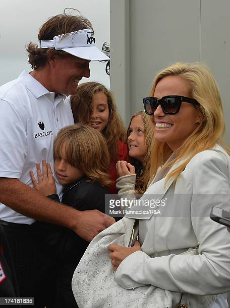 Phil Mickelson of the United States celebrates with wife Amy and children Evan Amanda and Sophia after winning the 142nd Open Championship at...