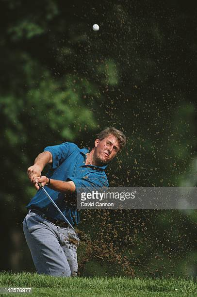 Phil Mickelson of the United States chips out of a bunker during the US Open Golf Tournament on 14th June 1991 at the Hazeltine National Golf Club in...