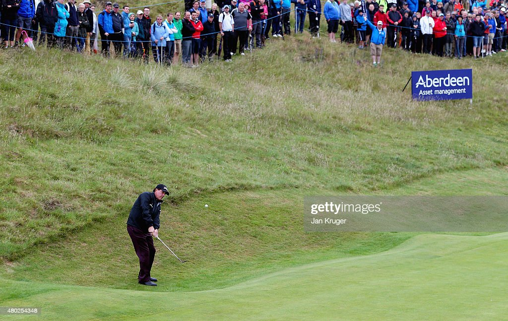 Phil Mickelson of the United States chips to the first green during the second round of the Aberdeen Asset Management Scottish Open at Gullane Golf Club on July 10, 2015 in Gullane, East Lothian, Scotland.