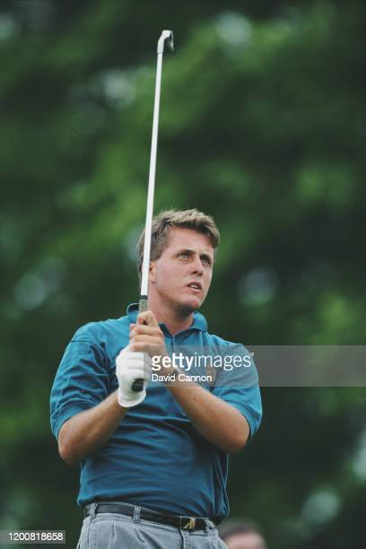 Phil Mickelson of the United States follows his shot during the 91st U.S. Open Golf Championship on 14th June 1991 at the Hazeltine National Golf...