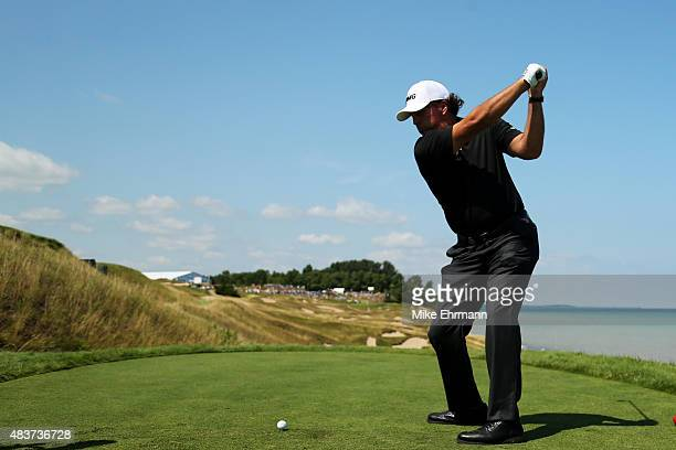 Phil Mickelson of the United States hits a tee shot during a practice round prior to the 2015 PGA Championship at Whistling Straits on August 12 2015...