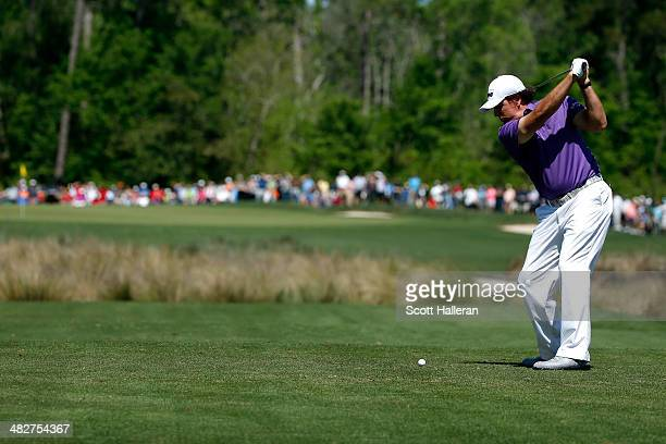 Phil Mickelson of the United States hits a tee shot on the ninth hole during round two of the Shell Houston Open at the Golf Club of Houston on April...