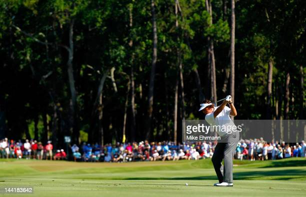 Phil Mickelson of the United States hits an approach shot on the 15th hole during the second round of THE PLAYERS Championship held at THE PLAYERS...