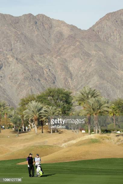 Phil Mickelson of the United States hits his second shot on the 11th fairway during the second round of the Desert Classic at the Stadium Course on...
