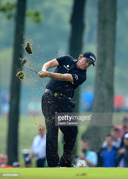 Phil Mickelson of the United States hits his second shot on the 13th hole during the second round of the 96th PGA Championship at Valhalla Golf Club...