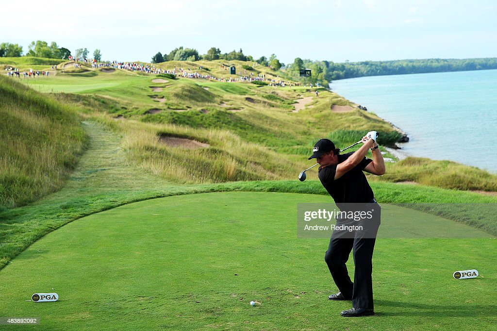 Phil Mickelson of the United States hits his tee shot on the 13th hole during the first round of the 2015 PGA Championship at Whistling Straits on August 13, 2015 in Sheboygan, Wisconsin.