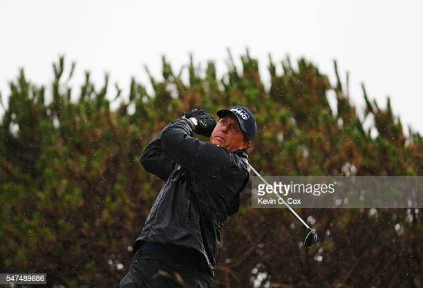 Phil Mickelson of the United States hits his tee shot on the 13th during the second round on day two of the 145th Open Championship at Royal Troon on...