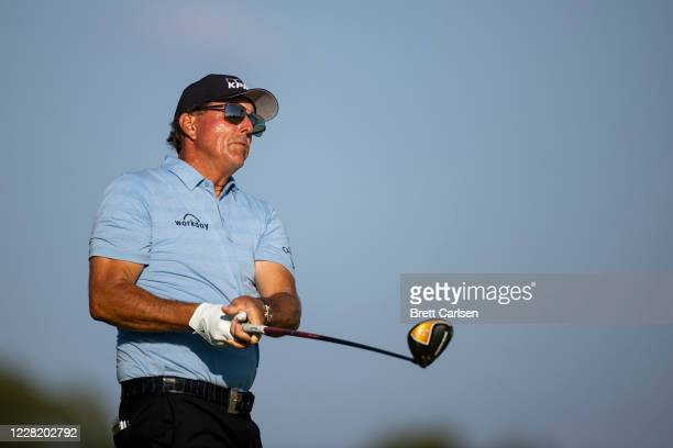 Phil Mickelson of the United States hits his tee shot on the 14th hole during the second round of the Charles Schwab Series at Ozarks National on...