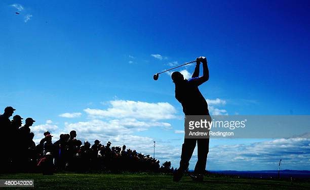 Phil Mickelson of the United States hits his tee shot on the second hole during the first round of the Aberdeen Asset Management Scottish Open at...