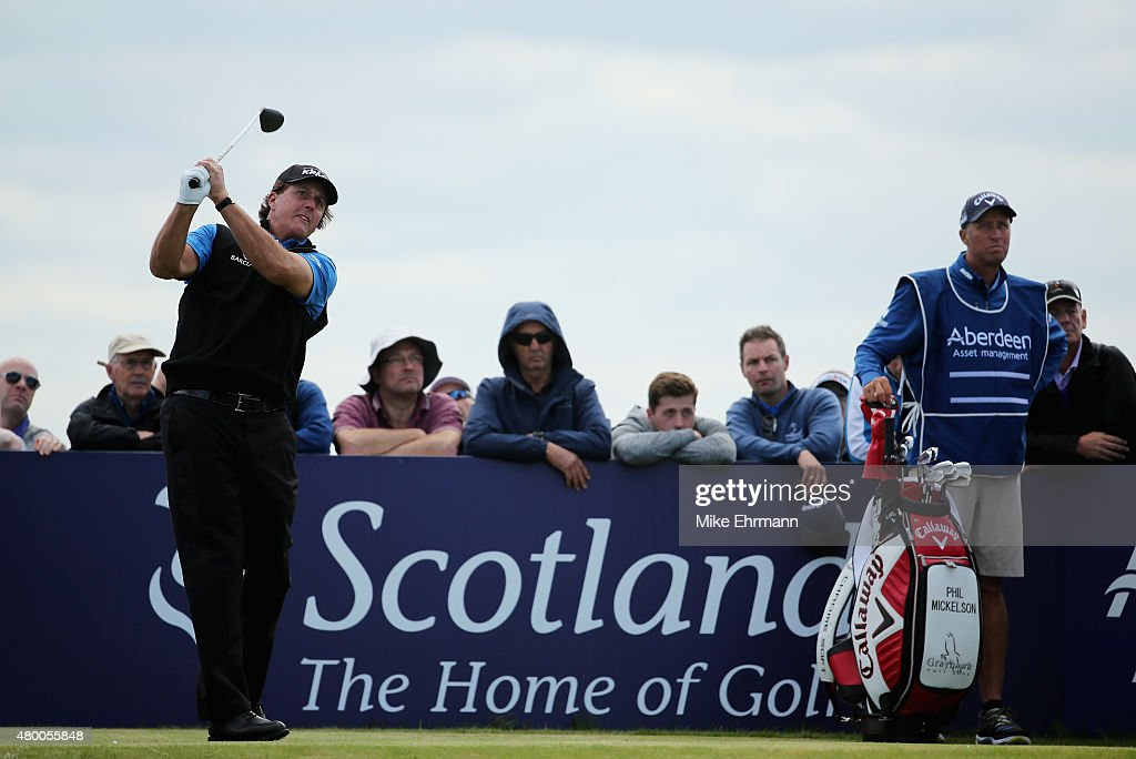 Phil Mickelson of the United States hits his tee shot on the seventh hole during the first round of the Aberdeen Asset Management Scottish Open at Gullane Golf Club on July 9, 2015 in Gullane, East Lothian, Scotland.
