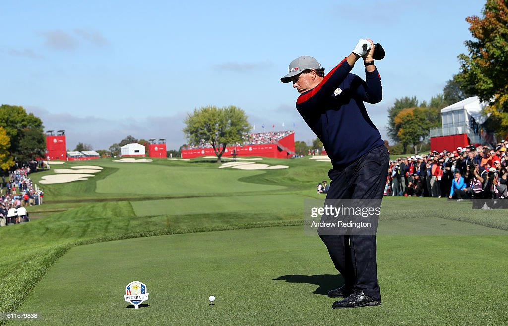 Phil Mickelson of the United States hits off the 18th tee during morning foursome matches of the 2016 Ryder Cup at Hazeltine National Golf Club on September 30, 2016 in Chaska, Minnesota.