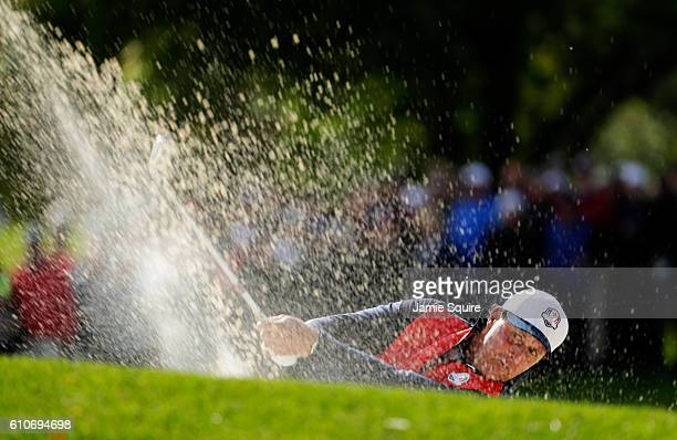 Phil Mickelson of the United States hits out of a bunker prior to the 2016 Ryder Cup at Hazeltine National Golf Club on September 27, 2016 in Chaska,...
