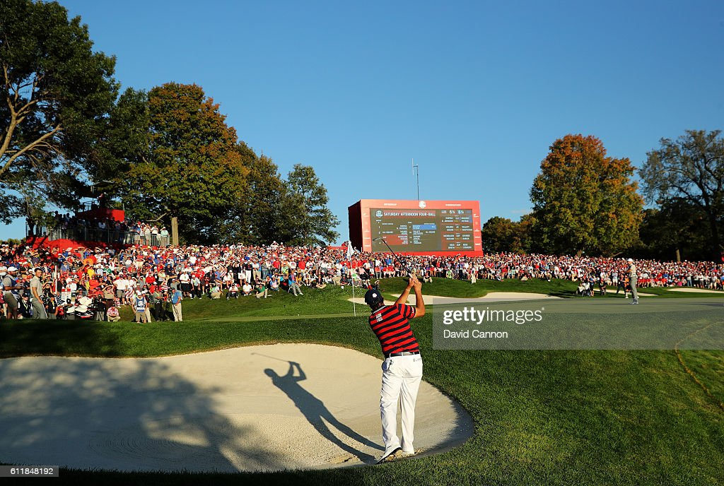 Phil Mickelson of the United States hits out of the bunker on the 16th hole during afternoon fourball matches of the 2016 Ryder Cup at Hazeltine National Golf Club on October 1, 2016 in Chaska, Minnesota.