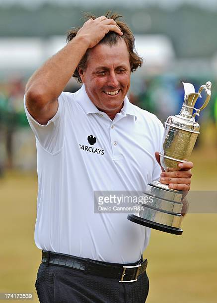 Phil Mickelson of the United States holds the Claret Jug after winning the 142nd Open Championship at Muirfield on July 21 2013 in Gullane Scotland