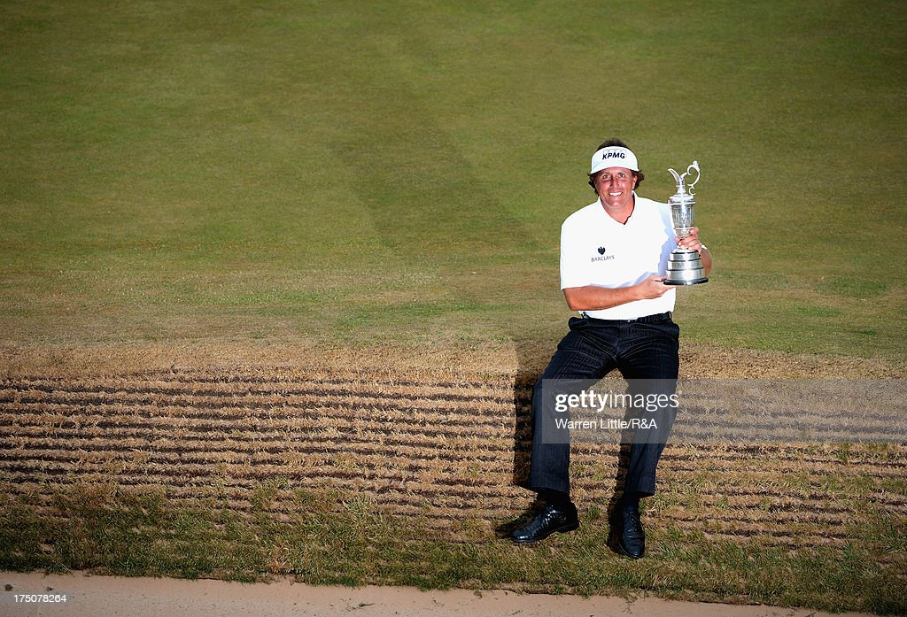 Phil Mickelson of the United States holds the Claret Jug after winning the 142nd Open Championship at Muirfield on July 21, 2013 in Gullane, Scotland.