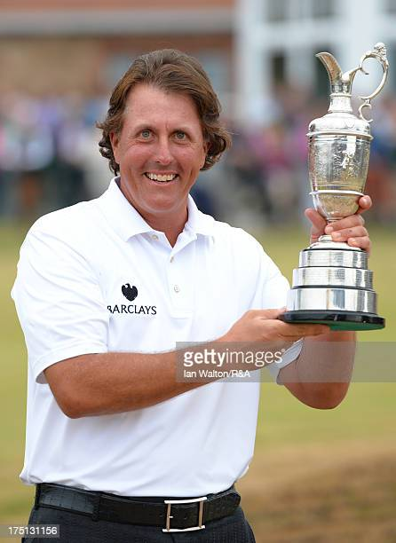 Phil Mickelson of the United States holds the Claret Jug after winning the 142nd Open Championship 142nd Open Championship at Muirfield on July 21...