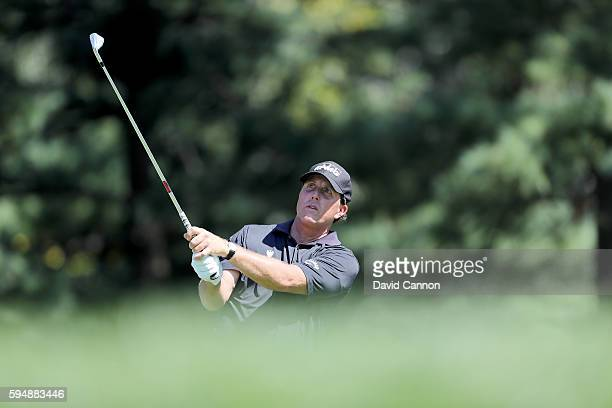 Phil Mickelson of the United States in action during the proam as a preview for The Barclays in the PGA Tour FedExCup PlayOffs on the Black Course at...